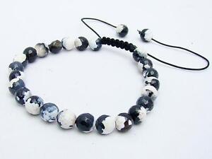 Men's Gemstone beaded Bracelet  BLACK/WHITE Fire Crackle AGATE stone BEADS