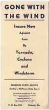 Moberly Missouri State Insurance Agency -Tornado Cyclone 1950s Vintage Blotter