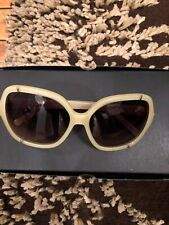 New AUTH CHLOE Natural Satin Women's Sunglasses Gold Detail CE619S 771
