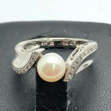 Sterling Silver 925 Elevated White Sphere Pearl CZ Pave Edge Wave Cocktail Ring