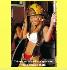 Firefighting Blonde Girl PHOTO Art Print Equipment Badge Helmet Tools Fire Truck