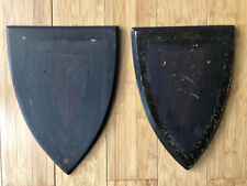 Antique English pine plaque armorial shield crest