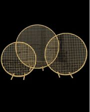 3 Piece Gold Round Mesh Backdrop Set Iron Stand Wedding Event Party Props