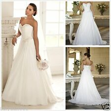 Unique A-line White Ivory Lace Beads Chiffon Wedding Dress Bridal Gown Size 6-18