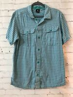 Nike Jordan Mens Green White Plaid Jumpman Short Sleeve Button Up Shirt Size M