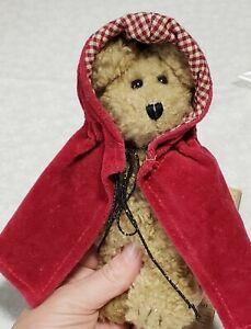 "Boyds Bear Plush Light Brown Bear red cape riding hood 6"""