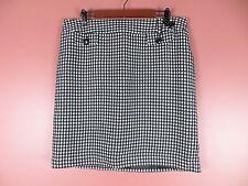 SK10333- ANN TAYLOR Woman Acrylic 45% Cotton Pencil Skirt Black White Geo Sz 14