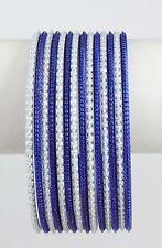 Bellydance14 Bangle Bracelets BLUE/WHITE Combo Slim Design Large Size India