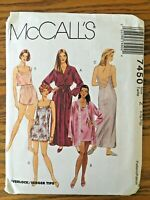 McCalls 7450 Misses Lingerie Pattern Robe Nightgown Camisole Short UNCUT Sz L XL