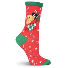 K.Bell Red Christmas Cat and Dog Stocking Socks Ladies Crew Black Socks New