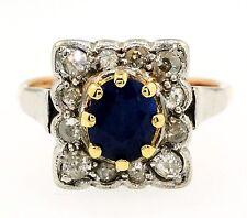 Antique 18ct Rose Gold & Platinum Sapphire Diamond Cluster Ring(Size L) 11x12mm