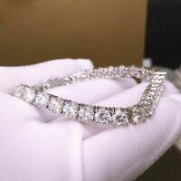 "8.00 Cttw Round Cut Moissanite 7"" Wedding Tennis Bracelet 14k White Gold Over"