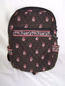 Vera Bradley Floral Black & Red Quilted BackPack Shoulder Bag Sling