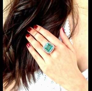 15.54 CT Art Deco Fine Colombian Neon Green Blue Emerald & Round CZ Halo Ring
