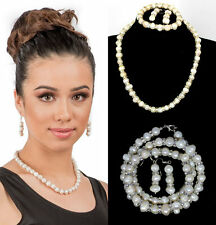 Womens Cultured Natural Freshwater White Pearl Set Bridal Bridesmaid Jewelry