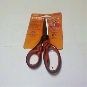 "Fiskars Comfort Grip Scissors Students Kids 7"" Sharp (red/black) NIP"