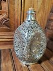 Chinese Sterling Silver Cut Out Overlay 4 Sided Glass Decanter Antique DETAILED
