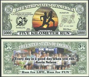 Five Kilometer Run 5000 Dollar Bill Play Funny Money Novelty Note + FREE SLEEVE