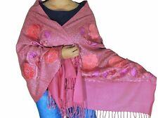 """Amaranth Pink Kashmir Embroidery Wool Dress Wrap Evening Shawl Trendy Scarf 80"""""""