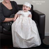 Baby Beau and Belle Owen boys christening and baptism silk jumpsuit gown set