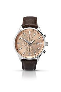 Sekonda Men's Quartz Watch with Rose Gold Dial Chronograph Display and Brown