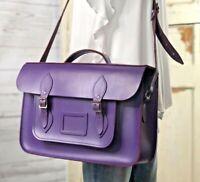 "THE CAMBRIDGE SATCHEL COMPANY Purple Leather Messenger Crossbody 15"" Bag"