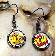 Small Comic Book BANG POW Retro Fight Illustration Gunmetal Black Glass Earrings