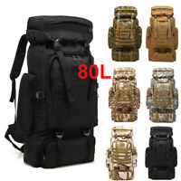 80L Molle Outdoor Military Tactical Bag Camping Hiking Trekking Backpack Large