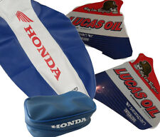 HONDA XR250 , XR250R, KIT SEAT COVER GRIPP  & TANK DECALS & REAR FENDER BAGS