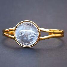1967 Canada Lynx Bobcat 25c 80% Silver BU Coin GP Cuff Bracelet Wildlife Animal