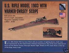 U.S. RIFLE MODEL 1903 WITH WARNER-SWASEY SCOPE Classic Firearms Gun PHOTO CARD