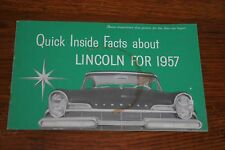 1957 LINCOLN QUICK FACTS BROCHURE BOOKLET
