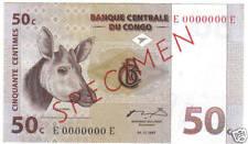 CONGO 50 CENTIMES 1997 PICK 84 SPECIMEN UNC