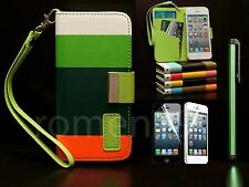 Colorful Stripe Wallet Leather Case With Credit Card Holder For iPhone 5 5S whgr