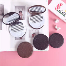 Flip Mini Pocket Portable Chocolate Cookie Mirror Comb Combination Makeup Mirror