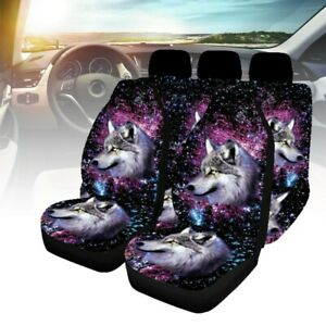 Universal Car Seat Covers 9Pcs Full Set Wolf Head Starry Sky Background Washable