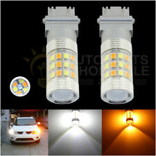 2 X Dual Color 3157 6000K White Yellow 42SMD 2835Chip LED Switchback Light Bulbs
