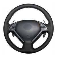 DIY Steering Wheel Cover Black Leather Hand Sewing For Infiniti G25 G35 G37 QX50