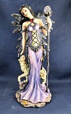 Fairy with Wolf and Long staff w/Crystal Ball on Top Mythical Fantasy