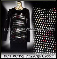 KATE MOSS Topshop Mohair Wool Blend Black Crochet Knit Jumper Dress UK 10 12 14