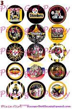 "15 Precut Pittsburgh Steelers NFL team sheet player mascot 1"" Bottle Cap Images"