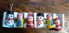 Set of 6 Vintage Handcrafted Christmas Ornaments Santa, Snowman, Ange w/Box