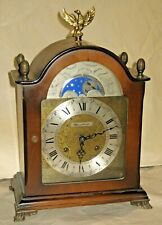 WORKING BULOVA GERMAN MOON PHASE CHIME 8 DAY BRACKET CLOCK COMPLETE WITH KEY