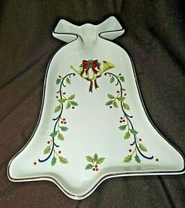 MIKASA Christmas Bell Shaped CANDY DISH Holiday Elegance w/ Label As New