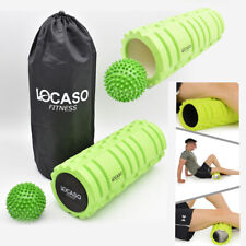 2 in 1 Foam Roller Exercise Trigger Point Grid Physio Massage Ball Green UKED