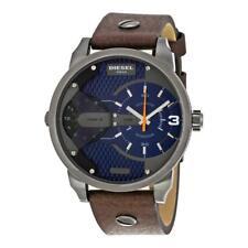 ** Men's Diesel Mini Daddy Dual Time Leather Strap Watch DZ7339 **