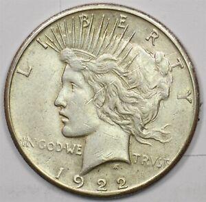 1922-S Peace Dollar Silver AU+ U0276