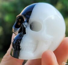 """2.0""""WHITE & BLACK Carved Crystal Skull, Realistic, Crystal Healing"""