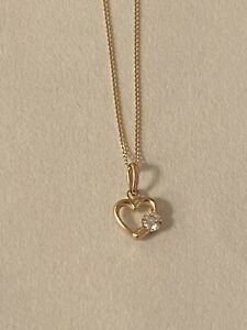 9ct Gold Girls Cz Heart Necklace