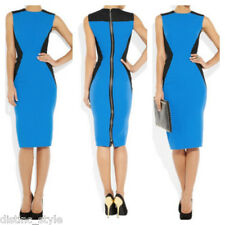 CHIC ICONIC Victoria Beckham color block blue&black wool/silk body one dress